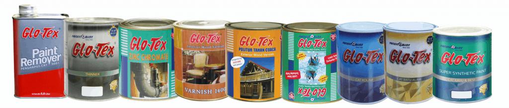 glotex cat kayu dan besi varian produk