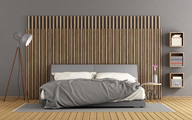kamar tidur abu-abu kayu